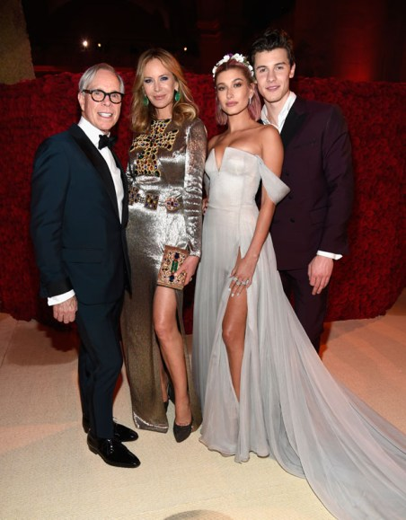 NEW YORK, NY - MAY 07:  Tommy Hilfiger, Dee Hilfiger, Hailey Baldwin and Shawn Mendes attend the Heavenly Bodies: Fashion & The Catholic Imagination Costume Institute Gala at The Metropolitan Museum of Art on May 7, 2018 in New York City.  (Photo by Kevin Mazur/MG18/Getty Images for The Met Museum/Vogue)
