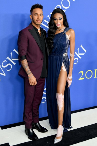 NEW YORK, NY - JUNE 04:  Lewis Hamilton and Winnie Harlow attend the 2018 CFDA Fashion Awards at Brooklyn Museum on June 4, 2018 in New York City.  (Photo by Jared Siskin/Patrick McMullan via Getty Images)