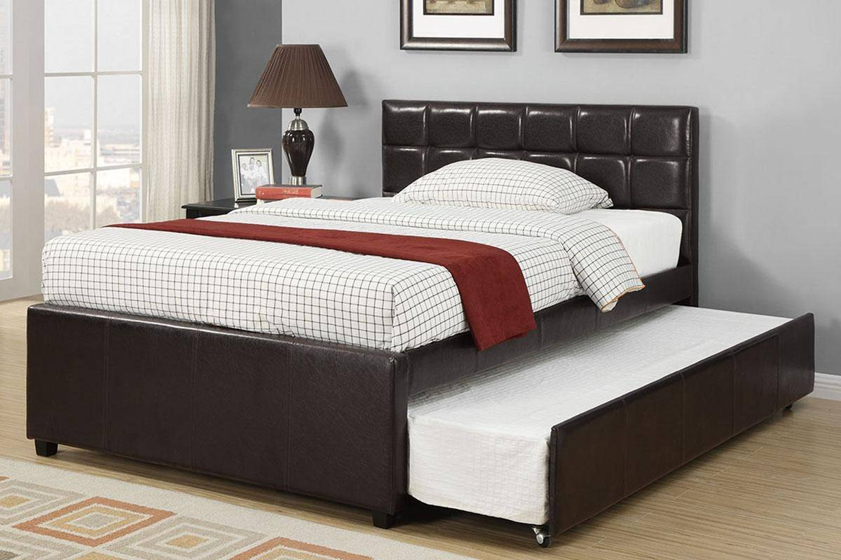 Dark Brown Faux Leather Twin Size Bed W Trundle F9215 Poundex Modern F9215t