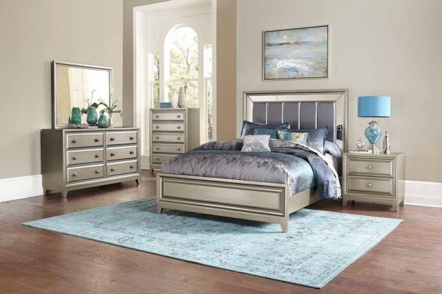 Homelegance 1839-1 Hedy Graphite Grey Silver Queen Size ...