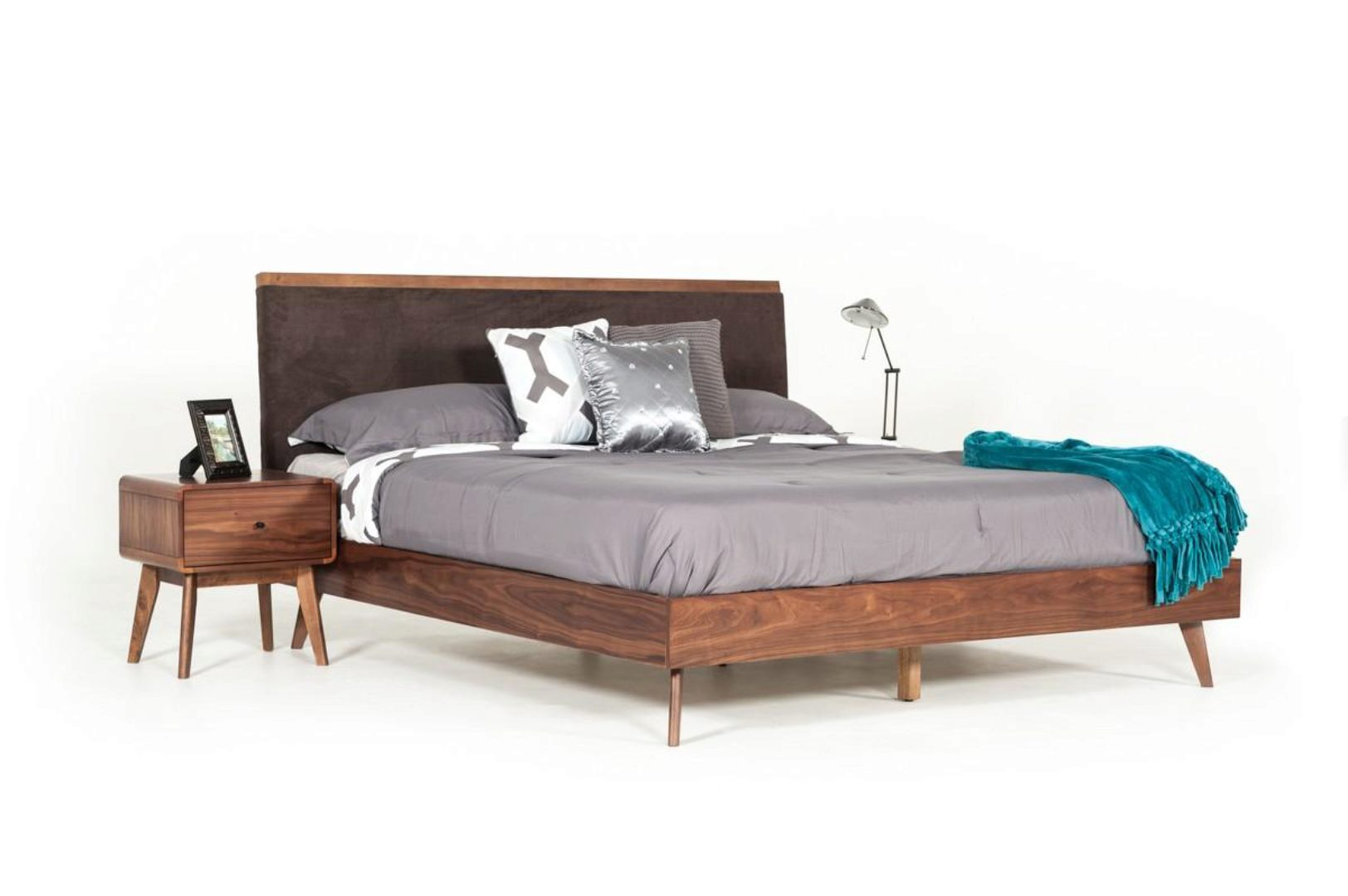 brown fabric walnut queen bed vig modrest marshall mid century modern