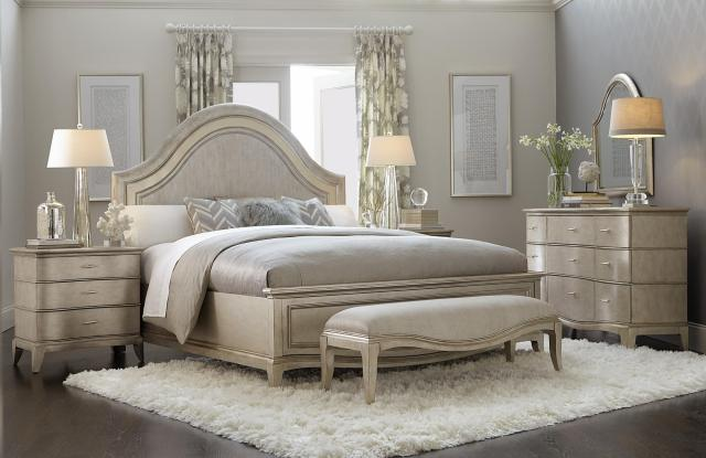 Contemporary Silver Finish Wood Queen Panel Bedroom Set ...
