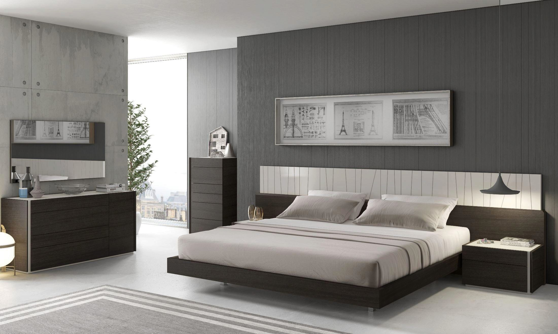 wenge white elida platform king bedroom set 4 w led light contemporary modern