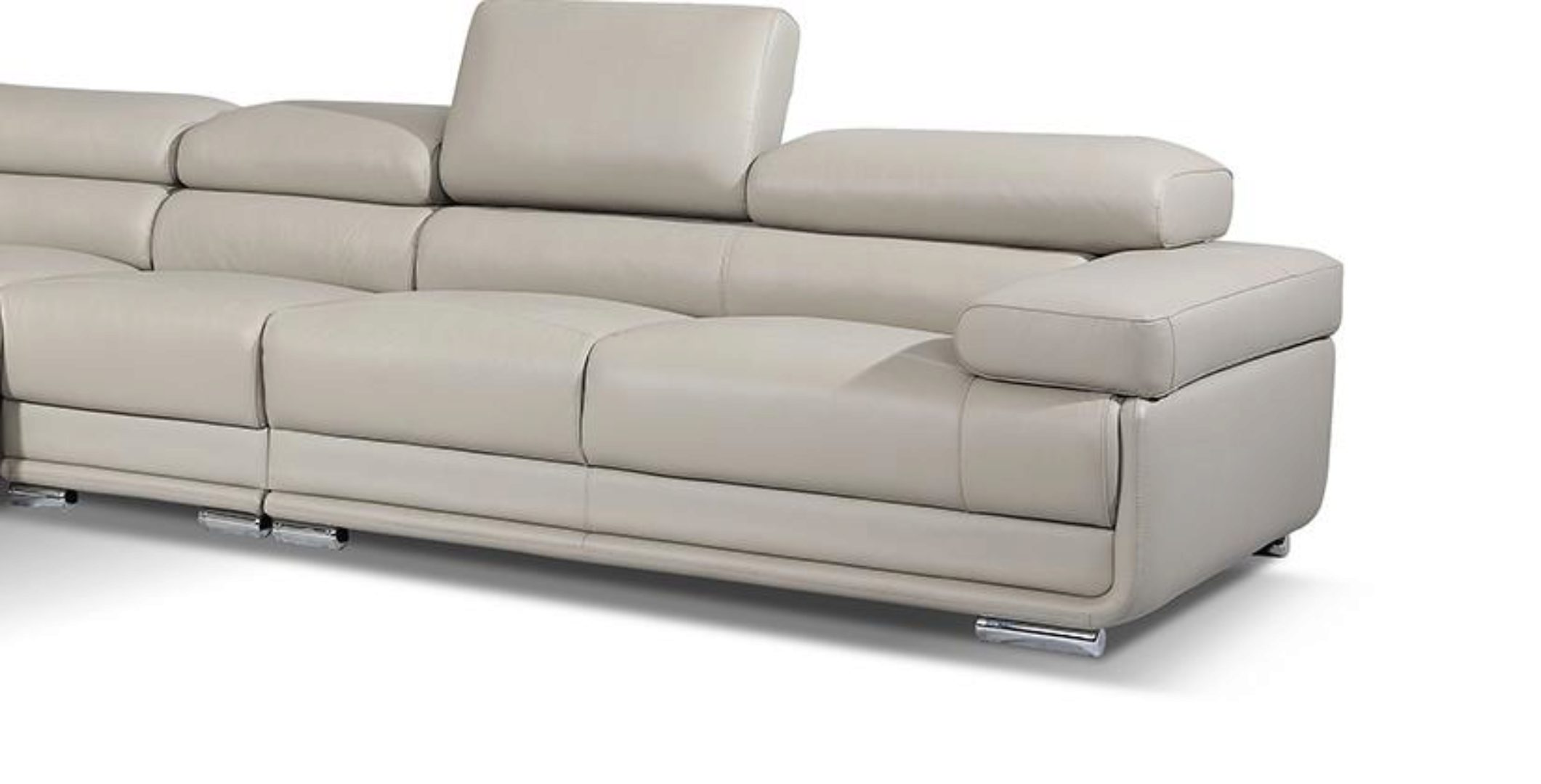 light grey top grain leather sectional contemporary modern left esf 2119