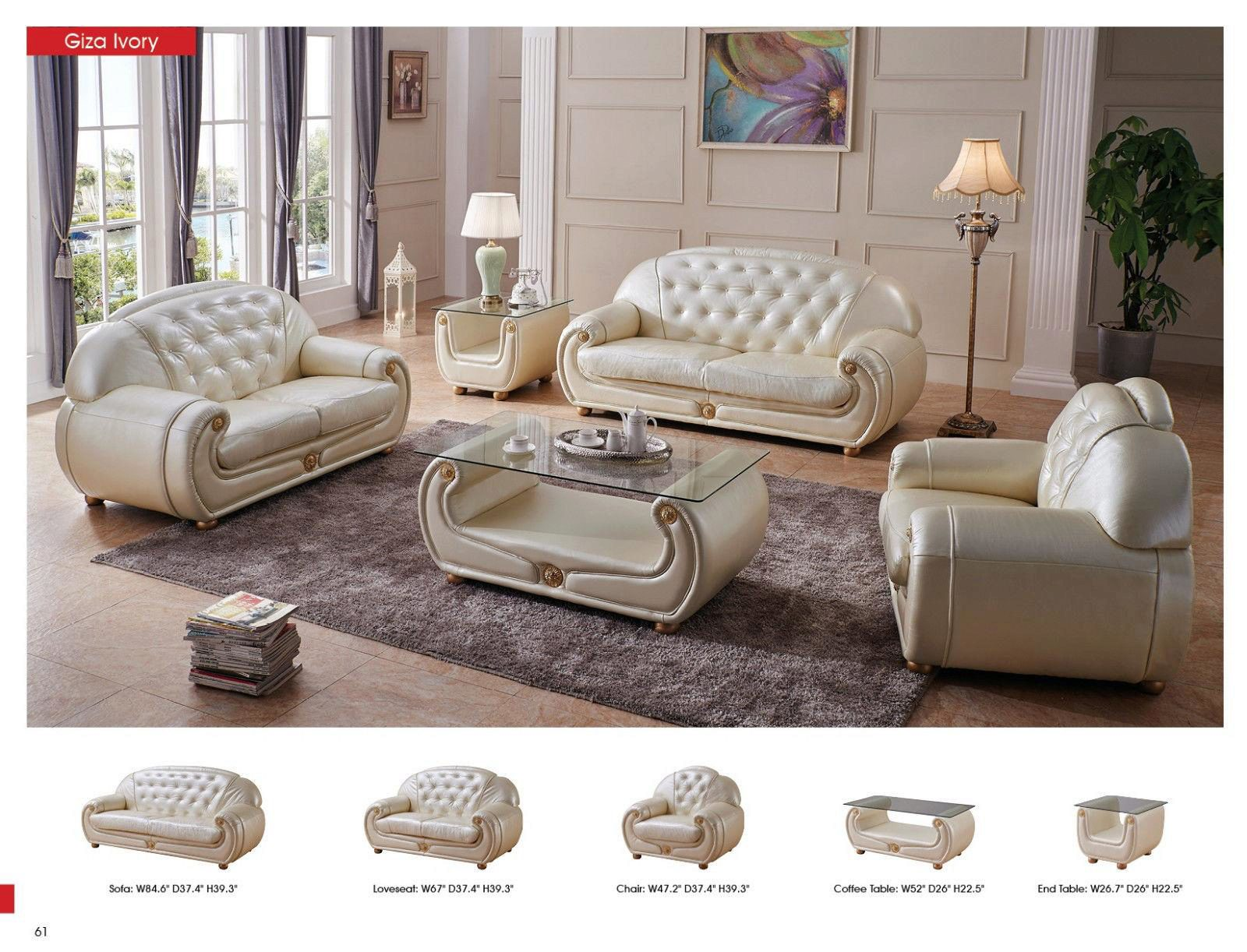 luxury light beige top grain leather sofa contemporary esf giza