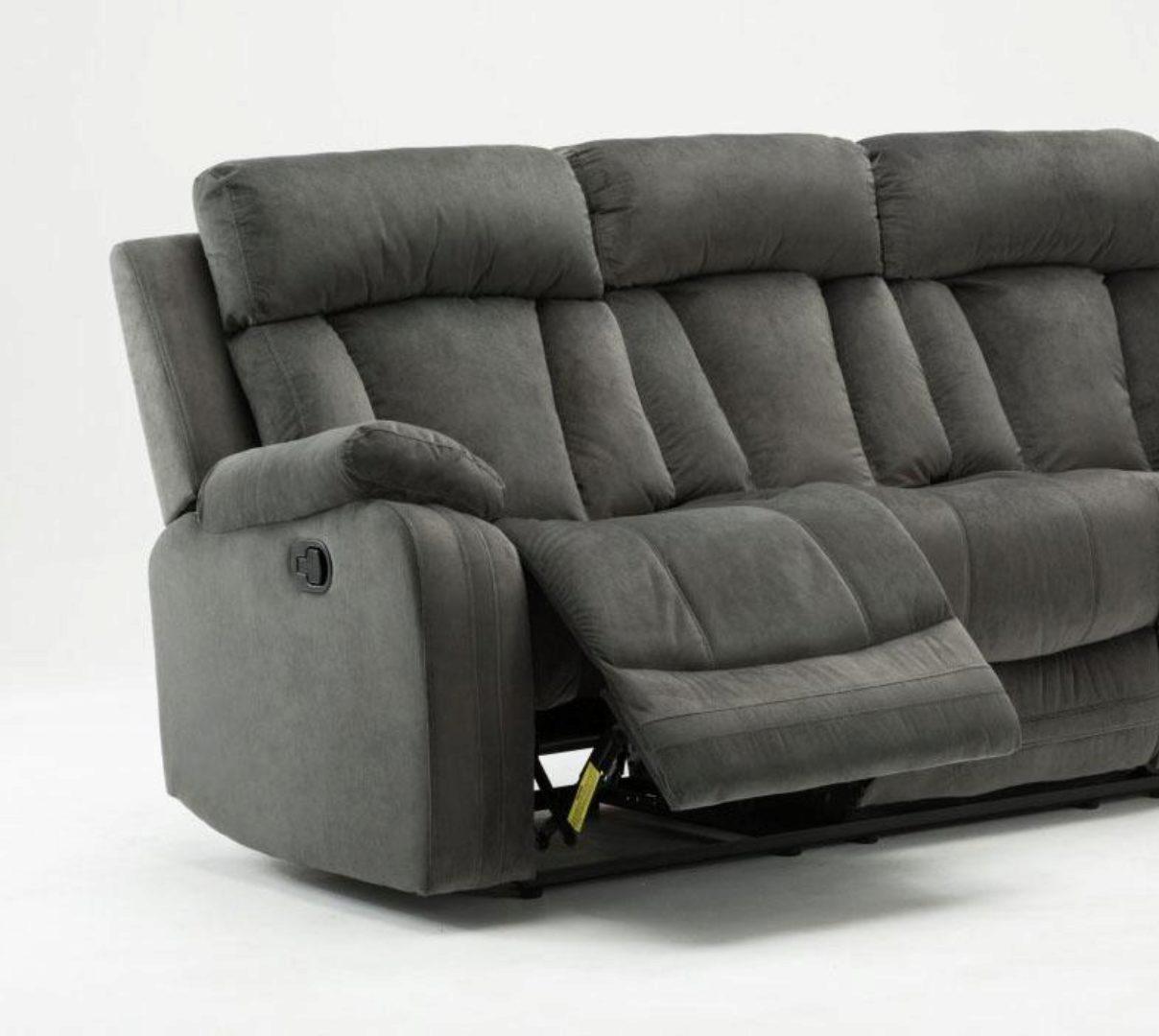 contemporary gray microfiber recliner sofa global united 9760