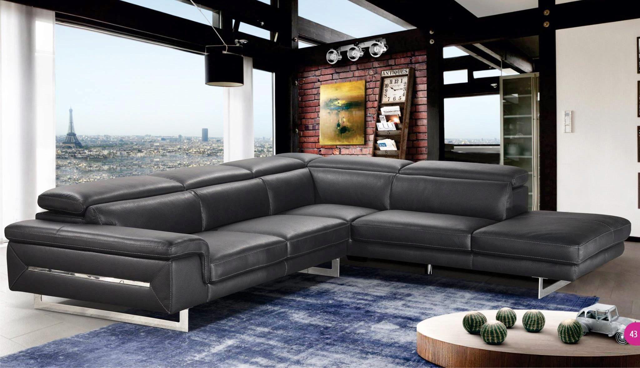 italian black leather sectional sofa vig accenti italia lazio contemporary chic