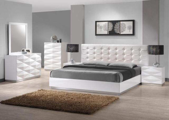J&M Verona Modern White Lacquer & Premium Leather Queen ...