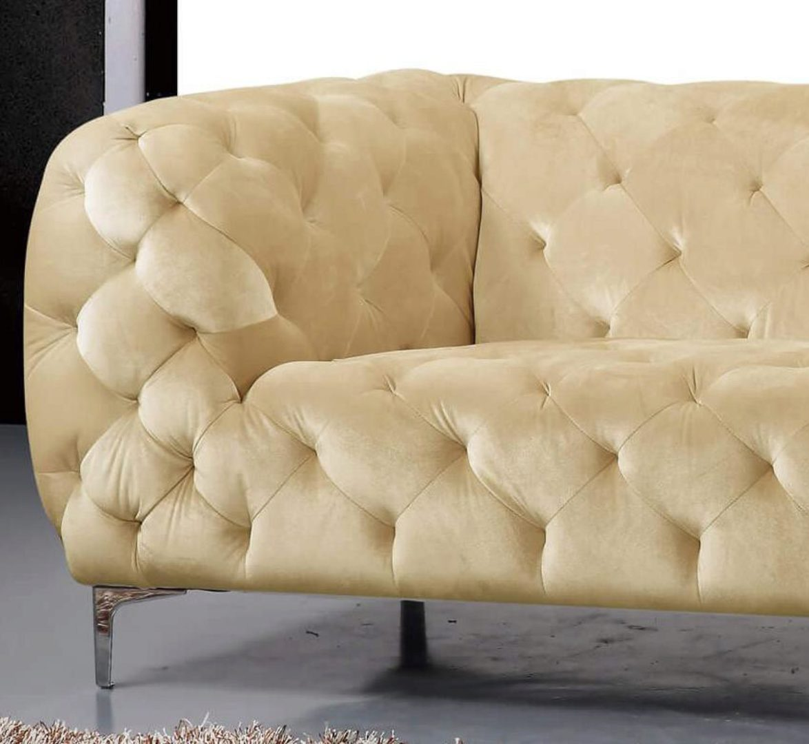 Beige Velvet Tufted Sofa Modern Meridian Furniture 646 Mercer 646be S