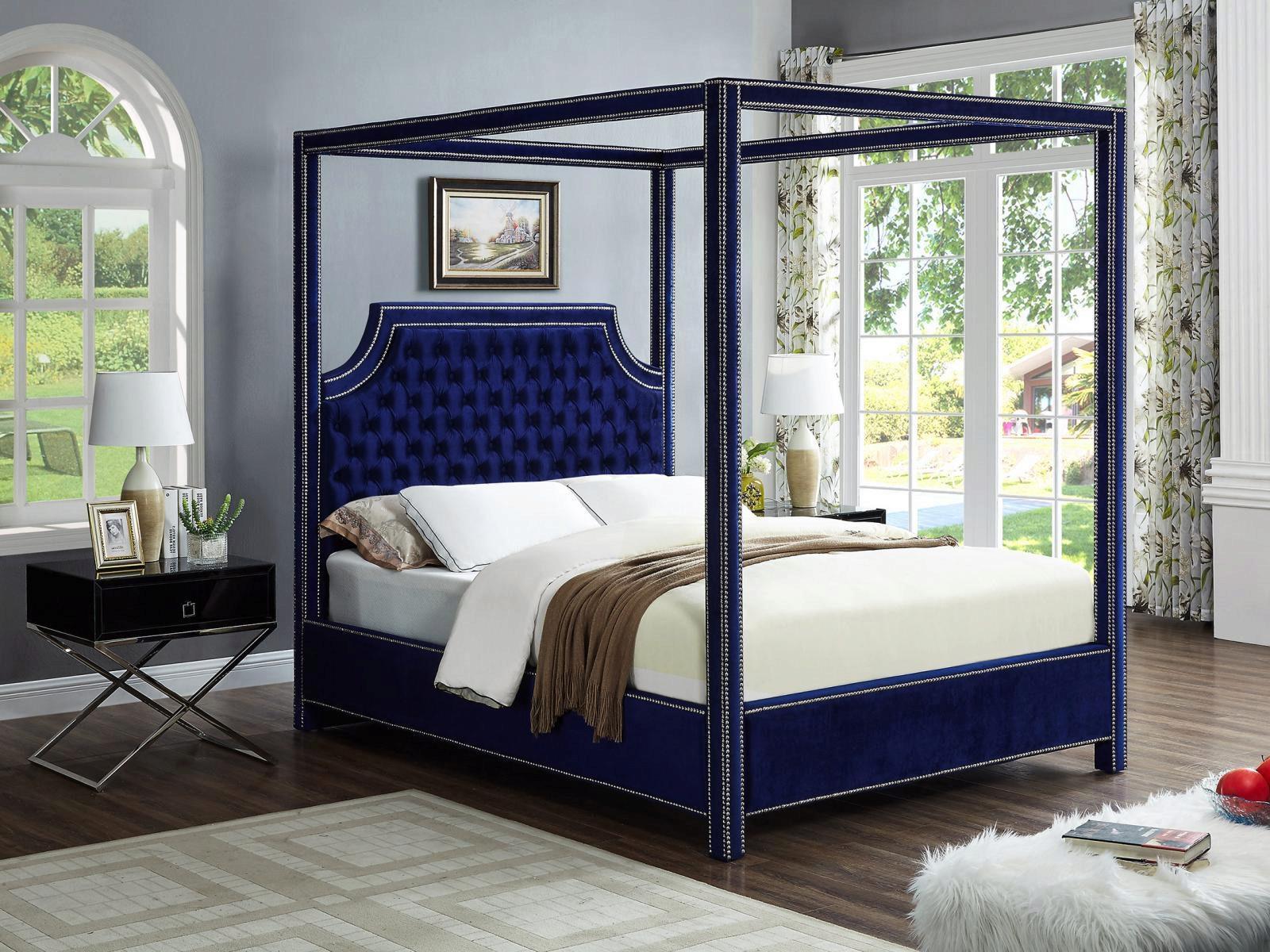 navy velvet queen canopy bed w side tables set 3ps meridian furniture rowan