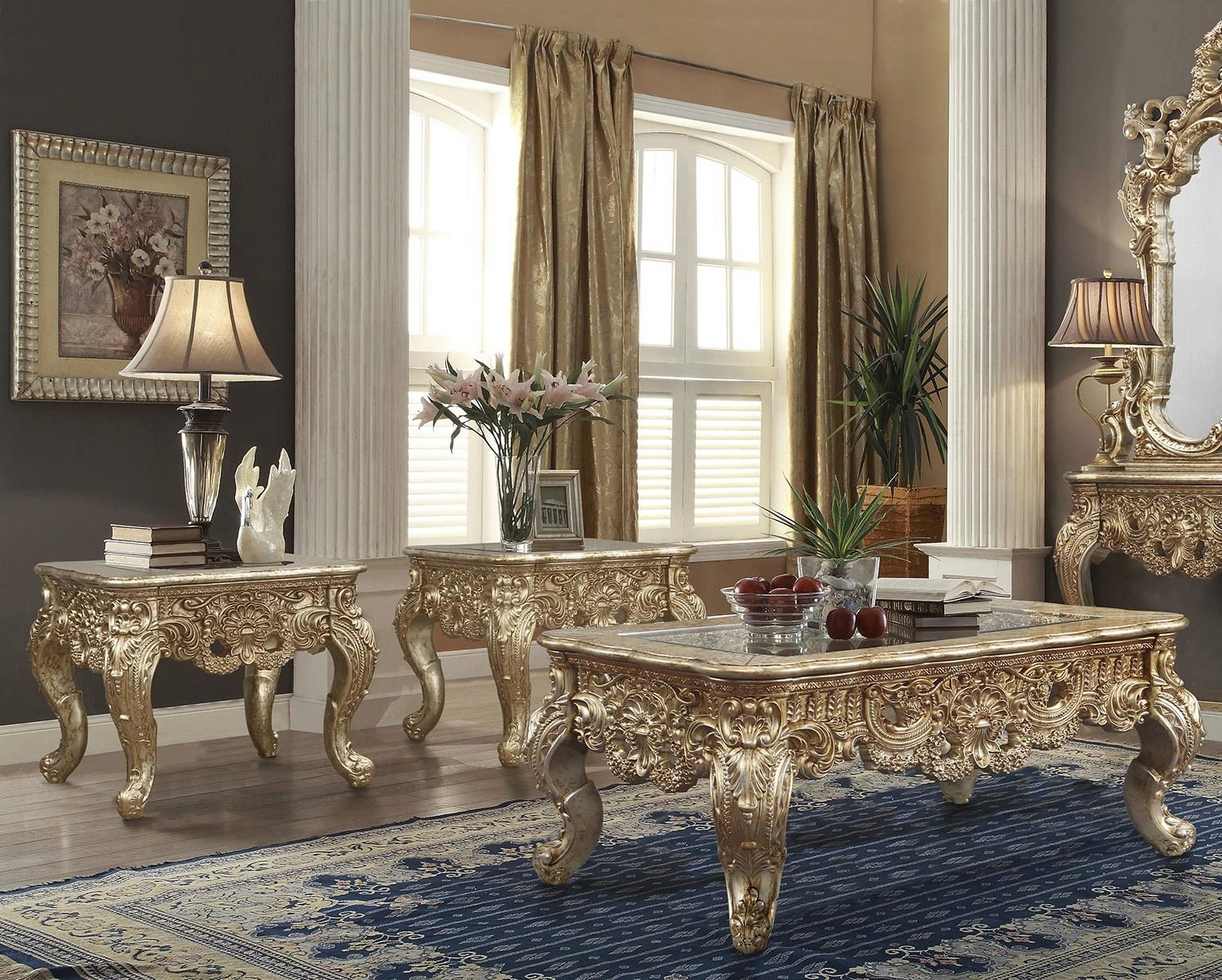 metallic gold silver blend coffee tables 3pc traditional homey design hd 998g