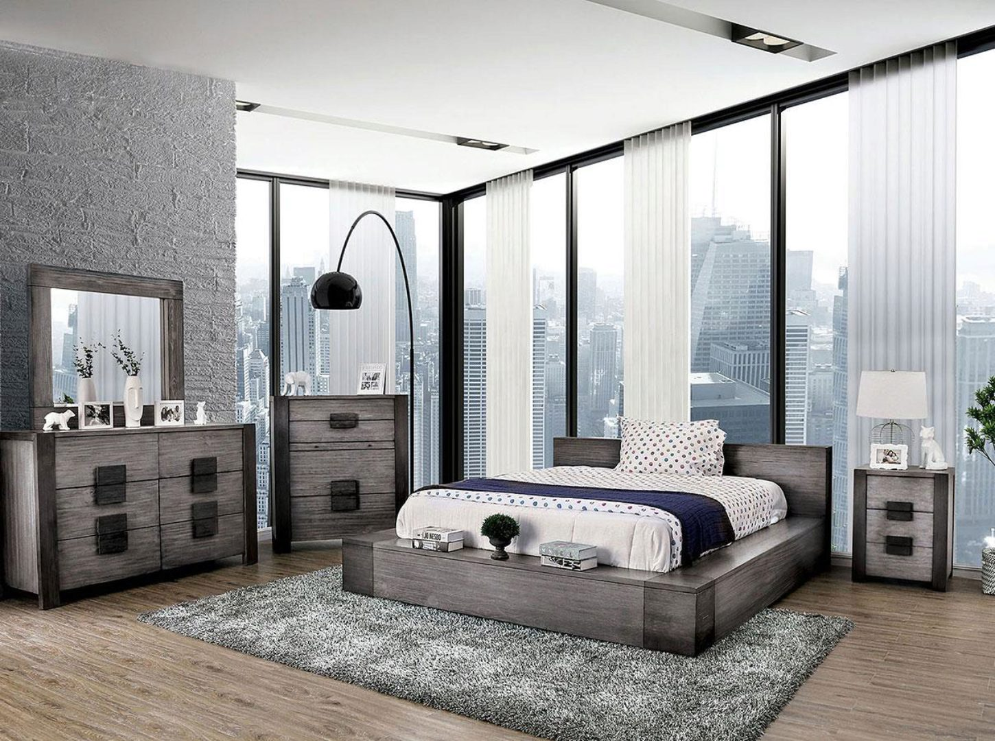 rustic gray finish queen bedroom set 5 w chest janeiro furniture of america