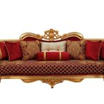 Victorian Red Velvet Red Gold Luxury Bellagio Sofa Set 4 European Furniture 30013 S Set 4