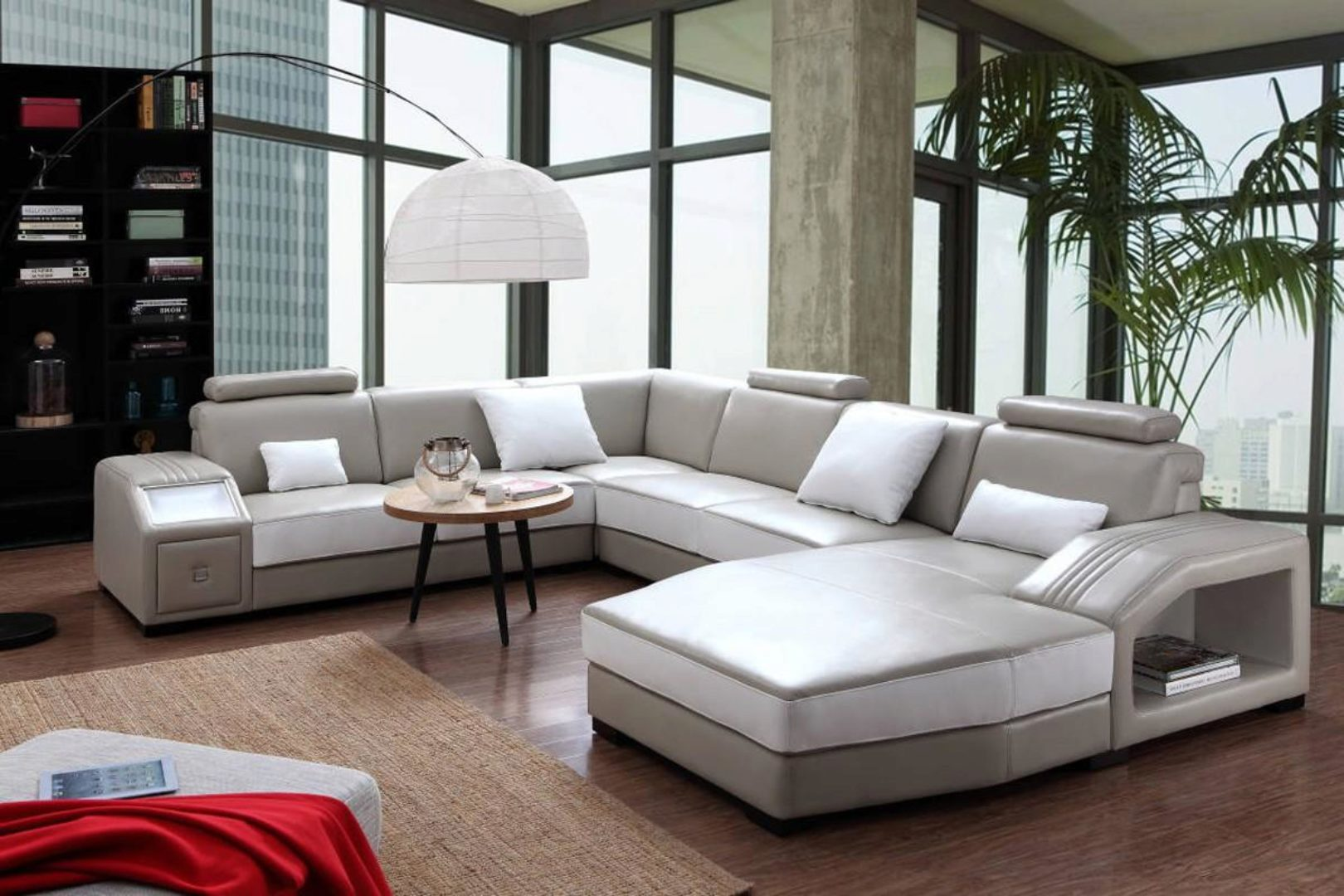 vig divani casa charlie modern light grey white leather sectional sofa w ottoman