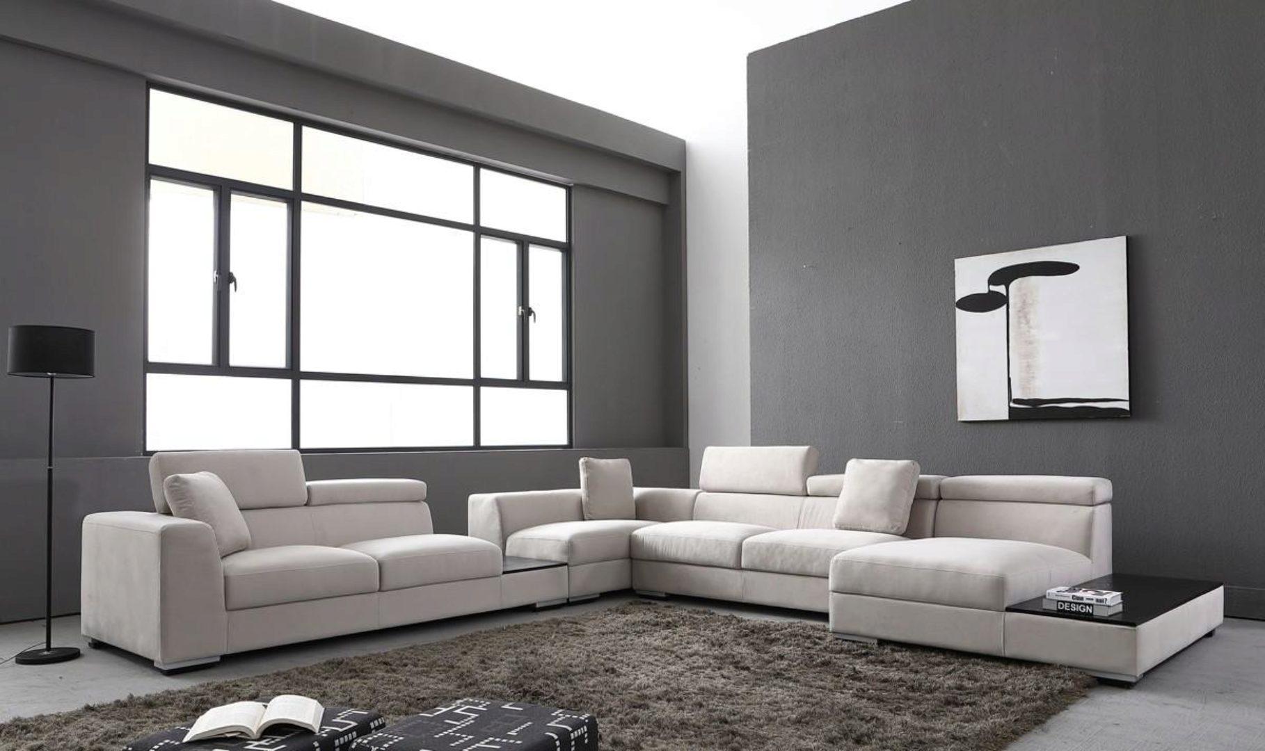 soflex aurora ultra modern gray microfiber modular sectional sofa right chaise