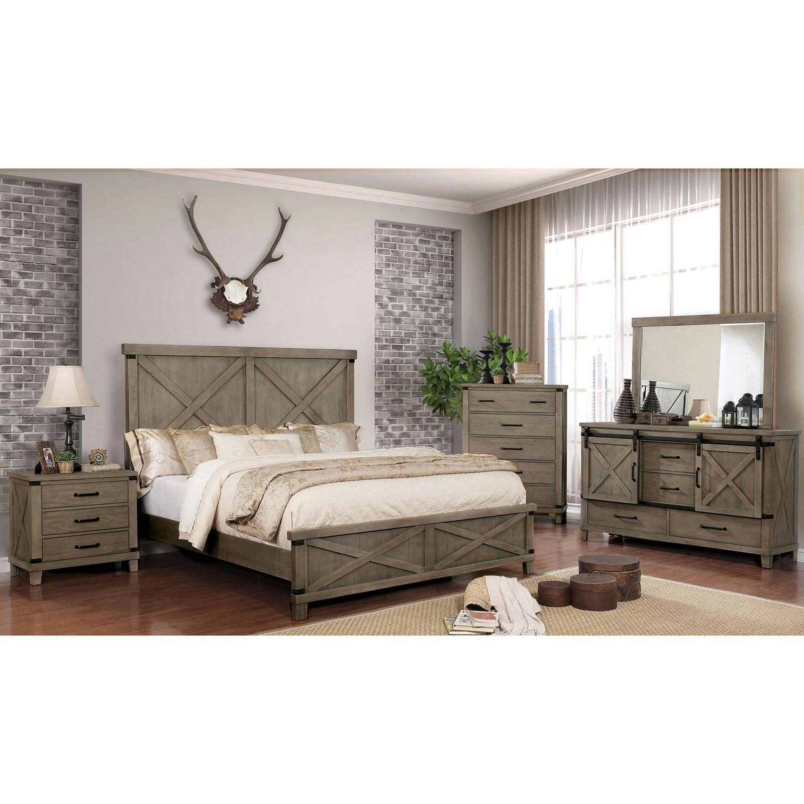 rustic wood king bedroom set 5 pcs in gray bianca by furniture of america