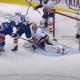 Semyon Varlamov stops a shot from Jesper Fast