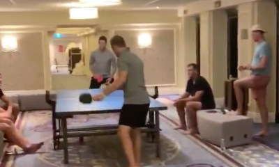 Ping Pong game between Islanders players in bubble