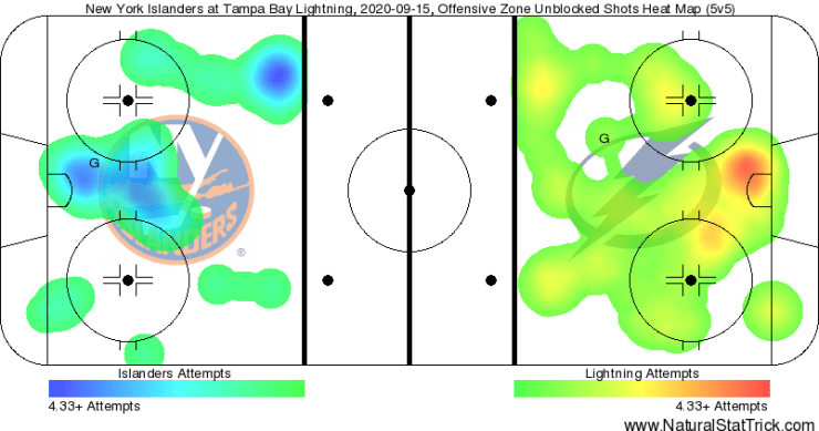 New York Islanders Game 5 heat map