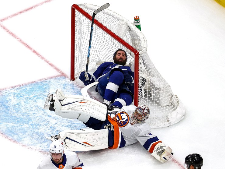 EDMONTON, ALBERTA - SEPTEMBER 09: Pat Maroon #14 of the Tampa Bay Lightning is checked into the goal as Semyon Varlamov #40 of the New York Islanders tends net during the second period in Game Two of the Eastern Conference Final during the 2020 NHL Stanley Cup Playoffs at Rogers Place on September 09, 2020 in Edmonton, Alberta. (Photo by Bruce Bennett/Getty Images)