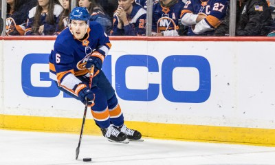 New York Islanders Defenceman Ryan Pulock (6) in action during a regular season NHL game between the Columbus Blue Jackets and the New York Islanders on November 30, 2019, at Barclays Center in Brooklyn, NY. (Photo by David Hahn/Icon Sportswire)