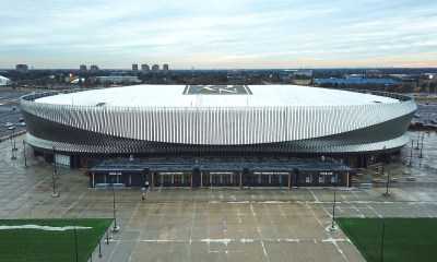 An external view of the NHL New York Islanders home arena