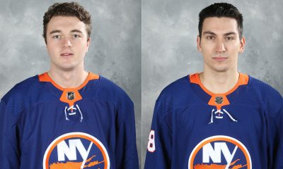 New York Islanders Noah Dobson and Anthony Beauvillier