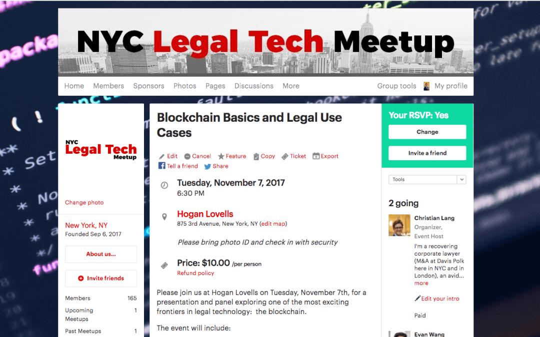 """Blockchain Basics and Legal Use Cases"" (11/7/17)"