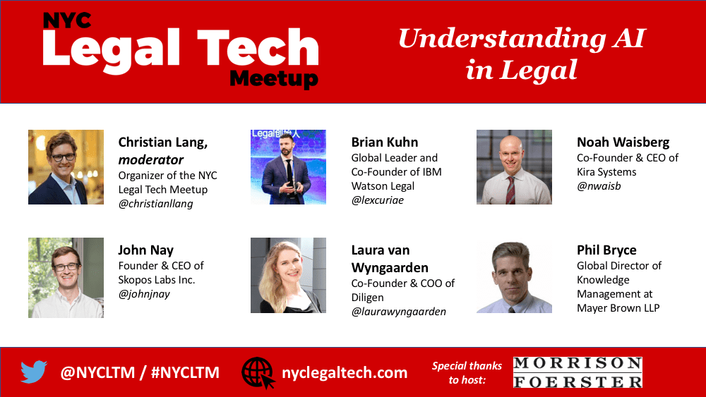 """NYCLTM """"Understanding AI in Legal"""" Panel (3/27/18)"""