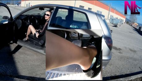 nasty-revving-in-black-patent-dirty-flats-and-nude-pantyhose_tube-exhaust-view1
