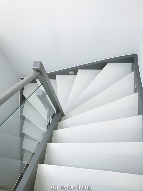 White Corian Staircase Style Stair Materials Modern Stair   White And Glass Staircase   Step   Before And After   Handrail   Stained   Oak