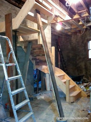 top floor staircase waiting to be installed