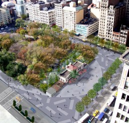 Rendering of Union Square renovation proposal. Image: Michael Van Valkenburgh Associates.