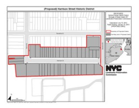 Proposed Harrison Street Historic District. Credit: LPC.