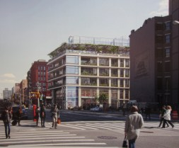 Rendering of development at 298-308 Lafayette Street, view from Houston Street toward the east. Image Courtesy: CookFox Architects.