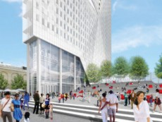 Rendering of public plaza and tower of BAM South project. Image Credit: Two Trees Management.