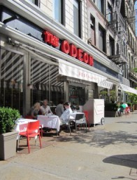 The Odeon's unenclosed sidewalk cafe, 145 W. Broadway, Manhattan. Image Credit: CityLand.