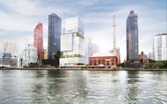 Renderings of the proposed complex at FDR Drive and 74th Street by Memorial Sloan-Kettering and The City University of New York/Hunter College. Image Credit: MSKCC and CUNY.