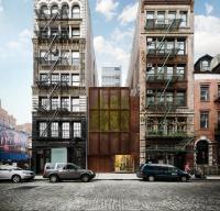 Rendering of façade facing Bond Street for through-block lot at 25 Great Jones Street, Manhattan. Image Credit: BKSK Architects.