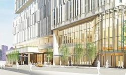 A rendering of the Memorial Sloan-Kettering/CUNY-Hunter College development, seen from 74th Street facing FDR Drive. Image credit: Memorial Sloan-Kettering Cancer Center