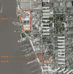 "Areas under study by the Department of City Planning for inclusion into the Special West Chelsea District. Area ""A"" is currently before the City Planning Commission. Image credit: DCP"