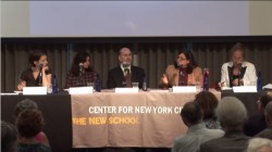 The New School hosted a panel on affordable housing and historic preservation, featuring (l. to r.) Rachel Meltzer, Nadine Maleh, Harvey Epstein, Rosie Mendez, and Gale Brewer. Image credit: The New School