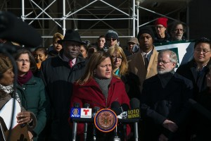 Speaker Melissa Mark-Viverito joins Elected Officials in Calling for Stronger Regulation Laws. Image Credit to William Alatriste, NYC Council