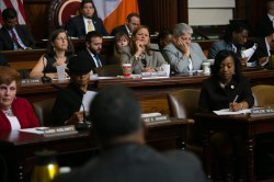Speaker Melissa Mark-Viverito questions HPD Commissioner Vicki Been during the Council oversight hearing.  Image credit: William Alatriste
