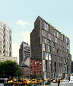 Architect rendering of the proposed building at 505 West 43rd Street.  Image credit:  ODA