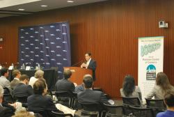 Councilmember Daniel Garodnick delivers the keynote address of the East Midtown Rezoning panel. Image credit: Manhattan Chamber of Commerce