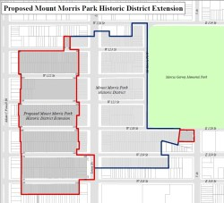 The proposed extension of the Mount Morris Park Historic District, outlined in red. Image credit: NYC LPC