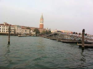 The pontoon bridge spans the Grand Canal for the Venetian Marathon