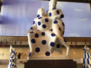 Blue polka dots are at the eastern end of the NYCB's vestibule