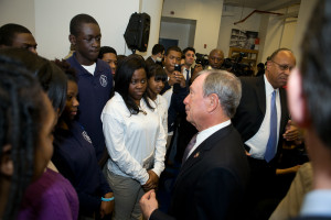 Mayor Bloomberg and Bedford Academy H.S. students. 12.3.13 Photo by Maurice Pinzon